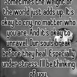 Sometimes the weight of the world just adds up. It's okay to cry, no matter who you are. And it's okay to unravel. Our souls break before they heal. Especially under stress. I'll be thinking of you.