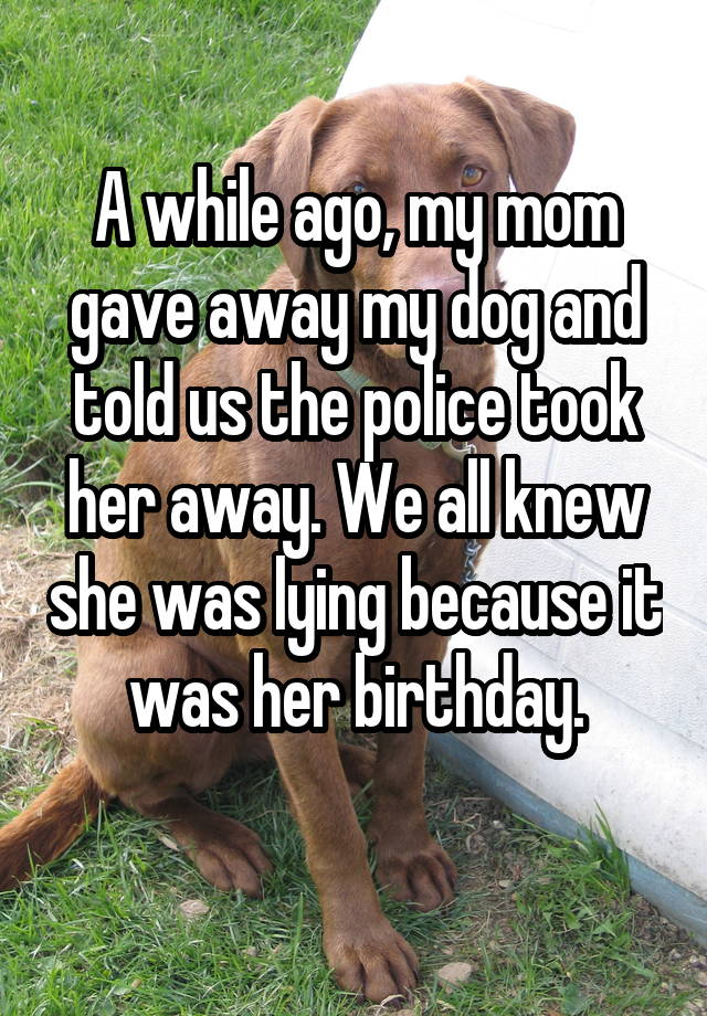 A while ago, my mom gave away my dog and told us the police took her away. We all knew she was lying because it was her birthday.