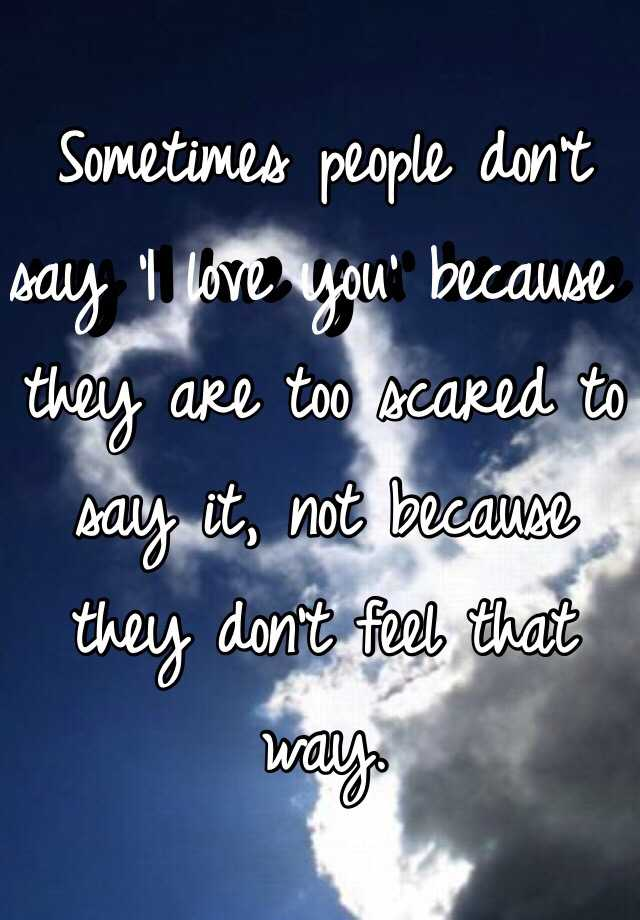 Sometimes people don't say 'I love you' because they are too scared to say it, not because they don't feel that way.