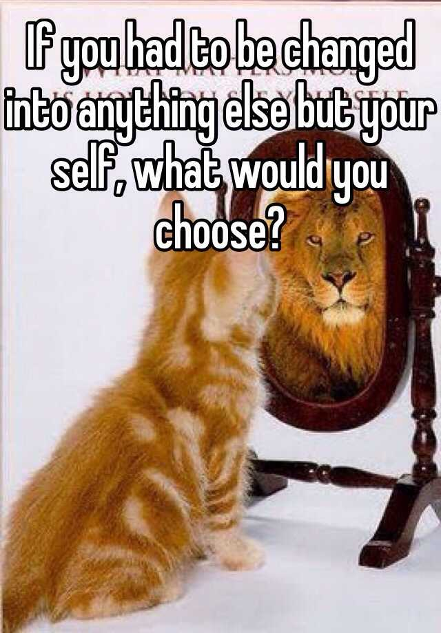 If you had to be changed into anything else but your self, what would you choose?