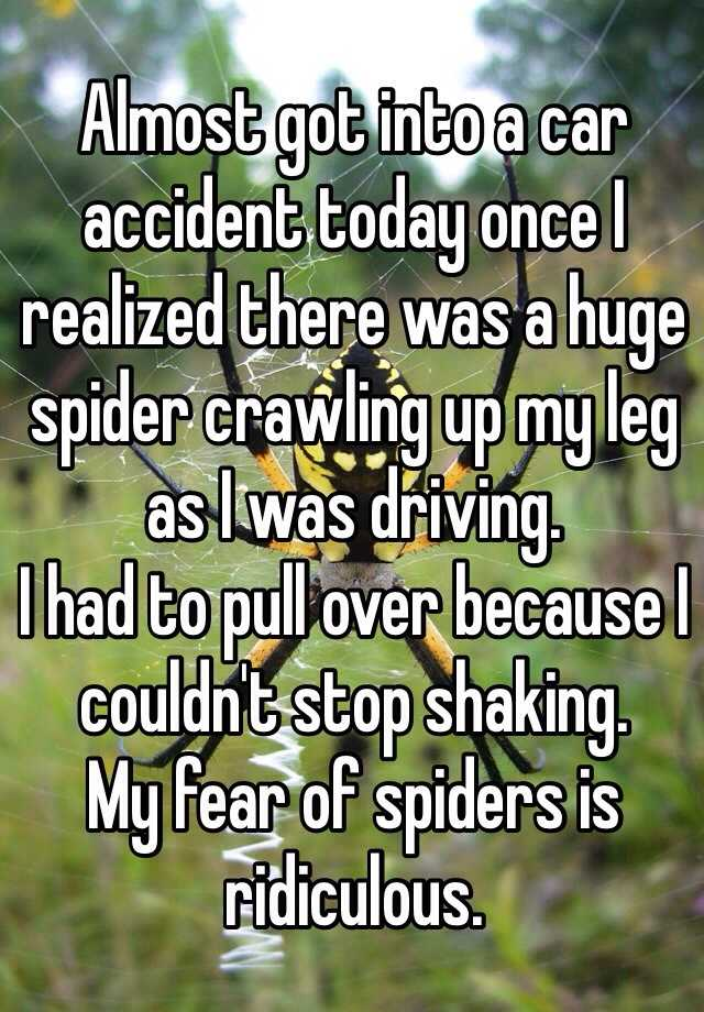 Almost got into a car accident today once I realized there was a huge spider crawling up my leg as I was driving.  I had to pull over because I couldn't stop shaking. My fear of spiders is ridiculous.