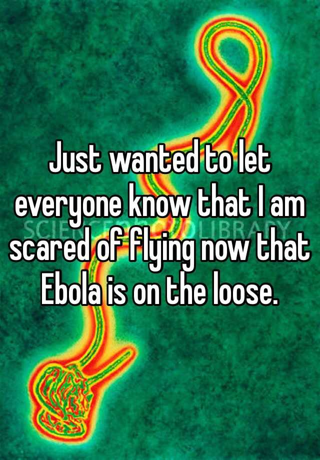 Just wanted to let everyone know that I am scared of flying now that Ebola is on the loose.