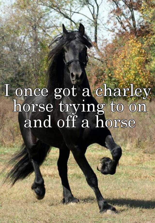 I once got a charley horse trying to on and off a horse