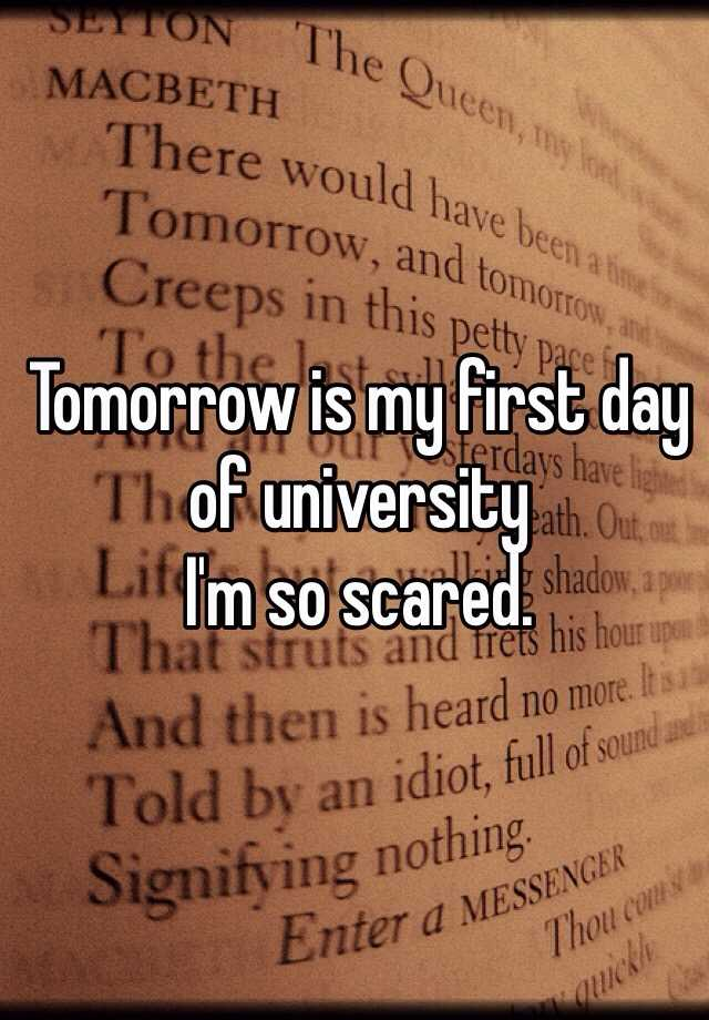Tomorrow is my first day of university  I'm so scared.